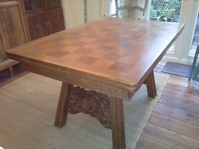 Antique carved solid oak parquetry dining table