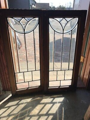 Sg 2120 match Pair antique all Beveled Glass tulip sidelight 16.5 x 36.75