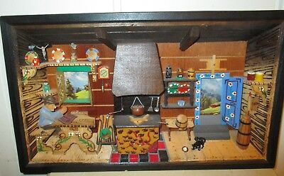 Vintage Hand Carved German Musical 3D Wooden Diorama Folk Art Wall Box - Rare