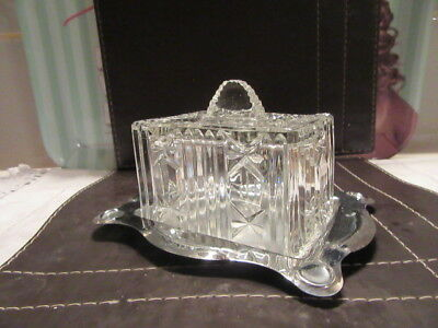 Vintage Art Deco styled cut glass small Butter Dish