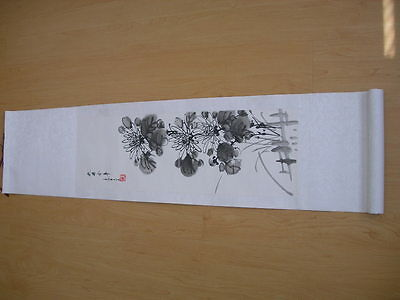 Chinese Wall Scroll Painting Flower Mum black ink USA seller*read description