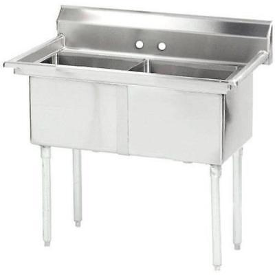 """Stainless Steel 2 Compartment Sink  35"""" x 21"""" No Drainboard"""