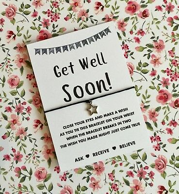 Get Well Soon Personalised Handmade COLON CANCER Wish Bracelet Good Luck