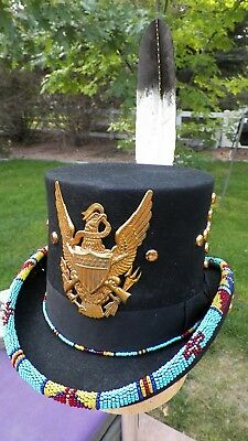 top hat Indian cowboy native american style powwow headress feather 7 3/8