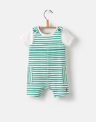 Joules 124729 Baby Boys Two Piece Short Dungaree Set in Green Stripe