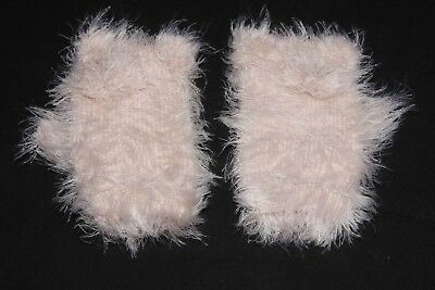 Cute Warm Soft Nude Pink Faux Fur Baby Mitten Gloves with Pom-Poms S(334)