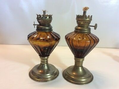 2  Miniature Oil Lamps Amber Slightly Different Pattern Made In Hong Kong
