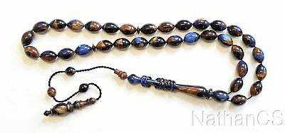 Prayer Worry Beads Tesbih Vintage Marbled Galalith Rare Color Exceptional Carve