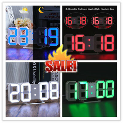 LED DIGITAL NUMBERS Table Wall Clock Large Digit 3D Display Alarm
