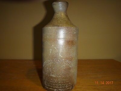 Stoneware With Eagle American Bottle Middlebury ( Akron ) Ohio Ca 1850 Ink 5 3/4