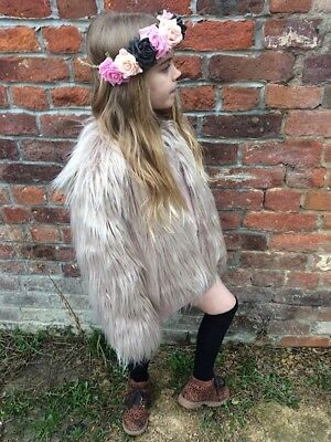Silvery Beige Faux Fur Fluffy Furry Winter Girls Kids Childs Jacket Coat 2-8 Yrs