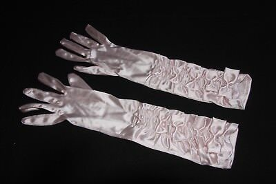 Elegant Prom Style Soft Pink Long Elastic Gloves with Bow Applications (S334)