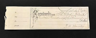 1878 Bodie Bank Receipt California