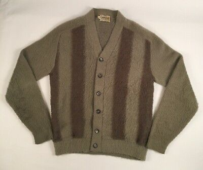 VTG 50s 60s Campus Fuzzy Textured Mohair Blend Cardigan Sweater Cobain sz MED