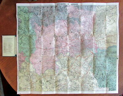 London environs old map c.1870 huge WH Smith linen backed hand colored