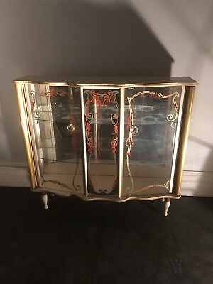 Mid century 1960s vintage kitsch cocktail drinks glass display cabinet