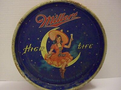 """Vintage Miller High Life Serving Tray """"Girl on the Moon"""""""