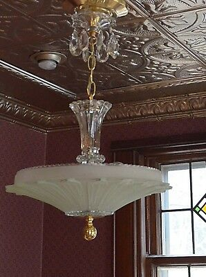antique 40's art deco green sunflower ceiling light fixture chandelier restored