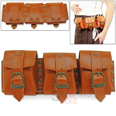 Steampunk Bandolier Multi-Pocket Belt or Shoulder Pouch Genuine Leather Handmade