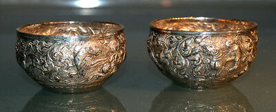 Antique Chinese silver pots PAIR Decorative birds and dragons votive