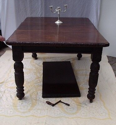 Antique Oak Dining Table Gothic Wind Seat 6 Victorian Mahogany