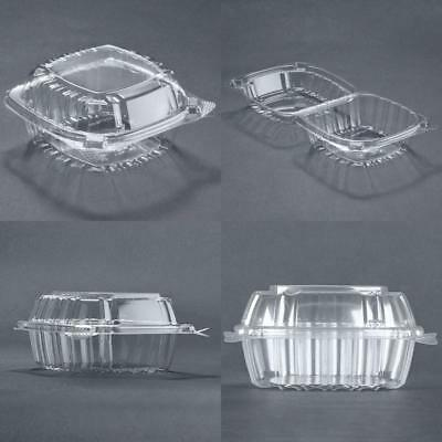 ;Food Container Small Clear Plastic Hinged for Sandwich Salad Cake 50 Pieces