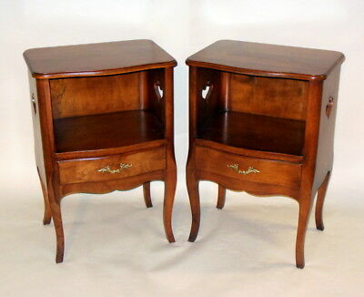 Vintage Pair NIGHSTANDS Cabinets FRENCH LOUIS XV style CABRIOLE Legs Hearts