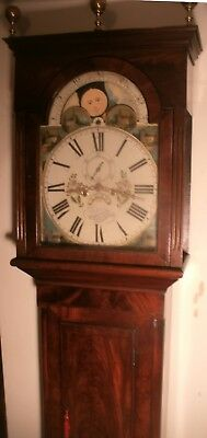 "Antique Mahogany "" Leicester "" 8 Day Moon Dial Longcase / Grandfather Clock"