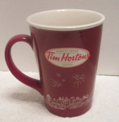 "TIM HORTON'S 2010 Collectible Tall Ceramic Mug 5"" Logo on Both Sides EUC!"