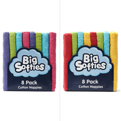 Big Softies Coloured Towelling Nappies 8 Pack - Assorted*