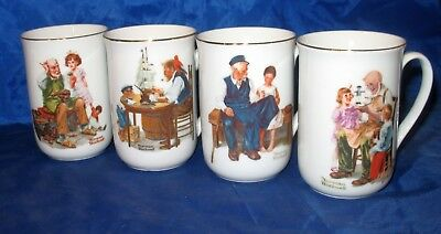 1982 Norman Rockwell Set Of 4 Porcelain Mugs ... Illustrated Exc