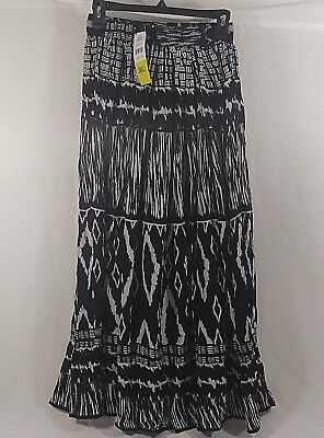 CHAUDRY KC Women's Full Length Boho Peasant Gypsy Skirt Lined Size Sm/Med NEW