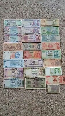25 Pcs of Different World Mix (Mixed) Foreign Banknotes Currency Lot,
