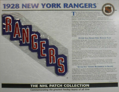 1928 New York Rangers Willabee & Ward Official NHL Patch 80012