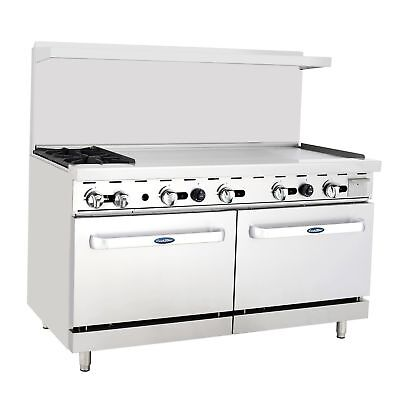 """New Heavy 60"""" Range 2 Burners 48"""" Griddle  2 Full Ovens Stove  Natural Gas Only"""