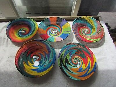 Lot #3 South African Zulu Telephone Wire Bowls Baskets Circus Tent Swirl ZigZag