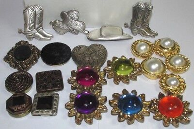 Vintage Button Covers Silver Western Lucite Gold Velvet Pearl Nony Ny Mix Lot 21
