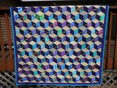 Crown Royal Quilt, Tumbling Blocks, 70 bags w/ logos, ready to ship, UNIQUE, NEW
