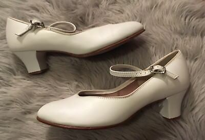 CAPEZIO White Mary Jane Buckle Ankle Strap Character Dance Shoes Women's Size 7M