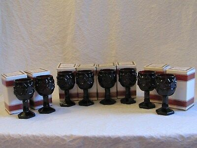 """8 Avon Cape Cod Ruby Red 4.5"""" Wine Goblets In Box"""
