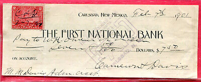 Carlsbad N.M. - First National Bank Check printed on The Bank of Eddy Check