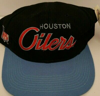 0e5eec61b VINTAGE HOUSTON OILERS Baby Blue Script Sports Specialties Snapback ...