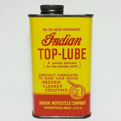 """NICE!!! 1940's INDIAN Motorcycle """"TOP-LUBE"""" Full Oil Can/Sign-Harley Davidson"""