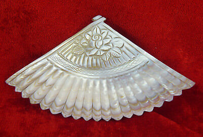 Chinese Carved Decorative Mother Of Pearl Shell Solid Fan