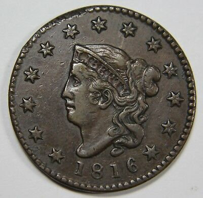 1816 Liberty Matron Head Large Cent Penny Old US Coin NR Free Ship P1R L003