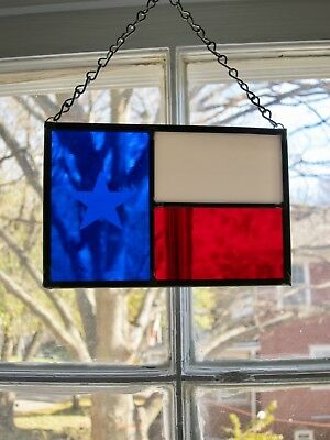 New Stained Glass Texas Flag Hanging Window Panel Light Catcher