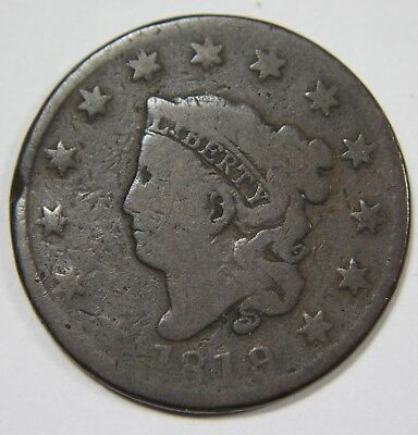 1819/8 9 Over 8 Liberty Matron Head Large Cent Penny Old US Coin NR P1R XX100
