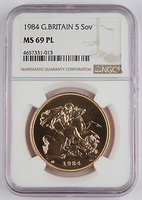 Great Britain 1984 Five (5) Sovereign Pound Gold Coin NGC MS69 PL 1.177 Oz AGW