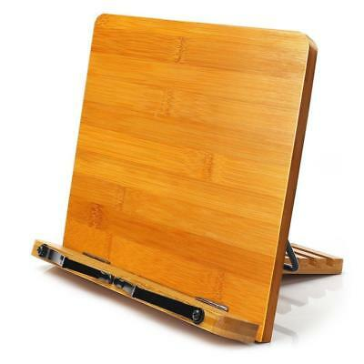 Bamboo Book Stand,HENGSHENG Adjustable Book Holder Tray and Page Paper...