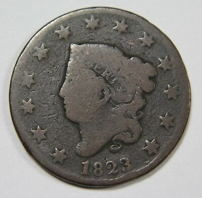 1823/2 3 Over 2 Liberty Matron Head Large Cent Penny Old US Coin NR P1R XX044